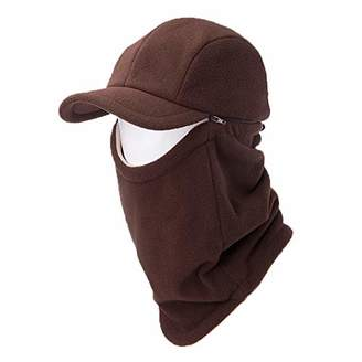 Jeff & Aimy 2 Piece Hat & Scarf Sets Mens Baseball Cap Neck Gaiters Warmer Fleece Balaclavas Winter Hat Coffee
