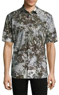 Brioni Jungle Cotton Button-Down Shirt