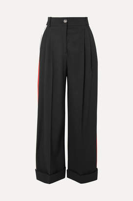Alexander McQueen Striped Wool-crepe Wide-leg Pants - Black