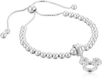 Disney Sterling Crystal Mickey Beaded Lariat Charm Bracelet