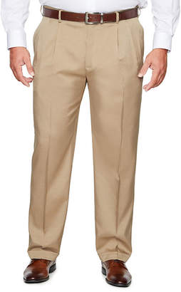 Savane Crosshatch Stretch Straight Fit Pleated Pants - Big and Tall