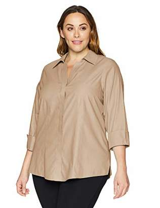 Foxcroft Plus Size Womens Taylor Essential Non-Iron Blouse