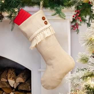 """Belham Living Ivory Fringe Christmas Stocking, 18.5"""""""