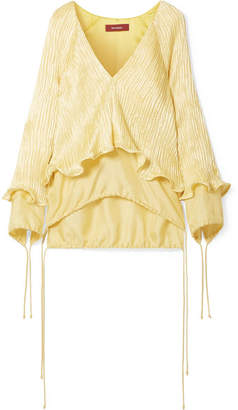 Sies Marjan Freida Ruffled Plissé Linen-blend Top - Pastel yellow