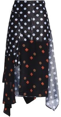 J.W.Anderson Asymmetric Floral-print Jersey-paneled Polka-dot Gazar Midi Skirt