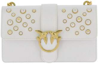 Pinko Crossbody Bags Love Bag In Leather With Pearls In Vintage Leather With Maxi Pearls And Chain Shoulder Strap