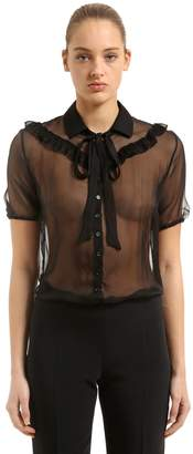 Rochas Ruffled Sheer Silk Chiffon Blouse
