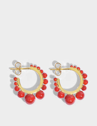 Aurelie Bidermann Ana Small Earrings in Coral Color Pearls and 18K Gold-Plated Brass
