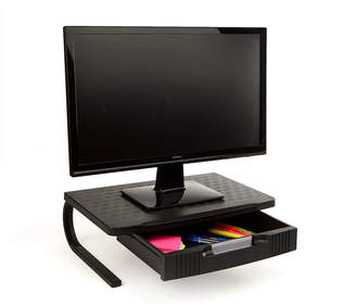 MINDREADER Mind Reader Extra Wide Plastic Monitor Stand With Metal Leg Support and Drawer