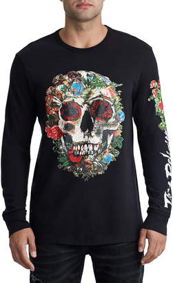 True Religion MENS FLORAL SKULL EMBROIDERED LOGO TEE