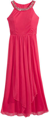 Sequin Hearts Embellished-Neck Maxi Dress, Big Girls