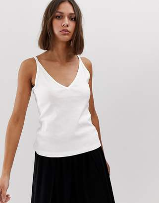 Weekday deep v-strap top in off white