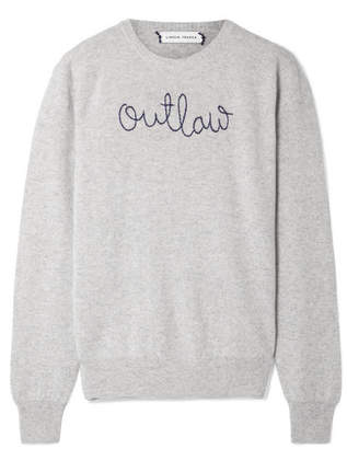 Lingua Franca - Outlaw Embroidered Cashmere Sweater - Light gray