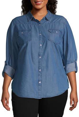 Boutique + + Chambray Button-Down Shirt - Plus