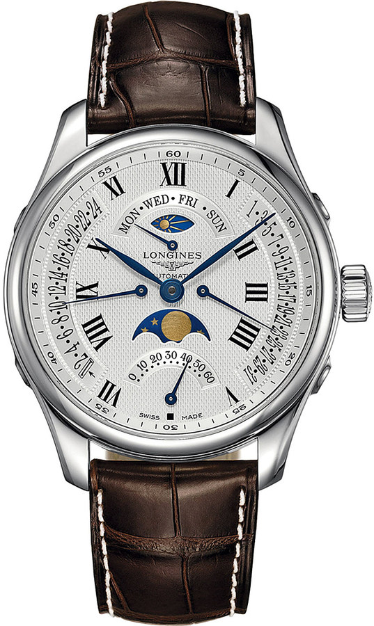 LonginesLongines L2.739.4.71.3 Master Moon-Phase stainless steel and leather watch