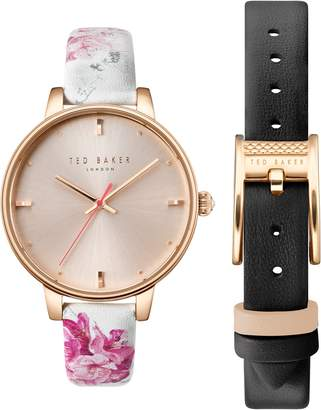 Ted Baker Kate Leather Strap Watch Set, 38mm
