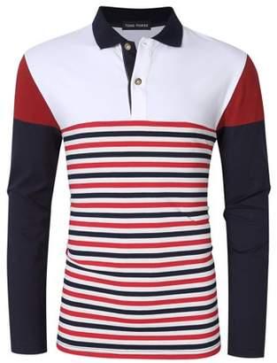 Glowsol Yong Horse Men's Striped Color Block Slim Fit Long Sleeve Polo Shirt White XL