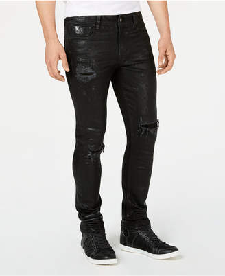 GUESS Men's Foil Graffiti Ripped Skinny Jeans