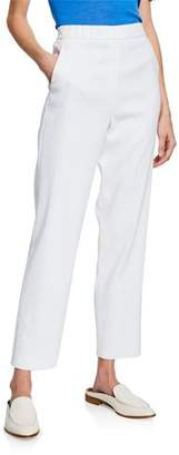St. John Straight-Leg Stretch-Linen Twill Pull-On Ankle Pants