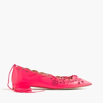 Leather eyelet lace-up flats $228 thestylecure.com
