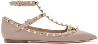 Valentino Pink Garvani Rockstud Ballerina Flats