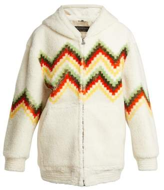 Burberry Hooded Zigzag Shearling Jacket - Womens - Cream
