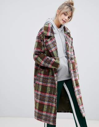 Pull&Bear double breasted coat in check