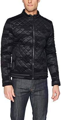GUESS Men's Stretch Camou Eco-Leather Jacket