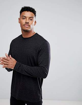 Asos Design Long Sleeve T-Shirt In Linen Mix In Black