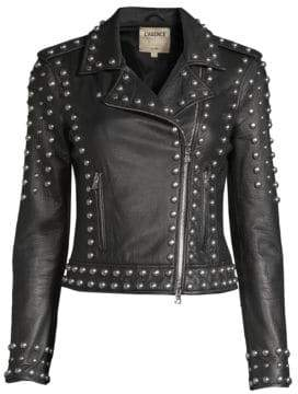 L'Agence Women's Perfecto Studded Leather Jacket - Black - Size XS