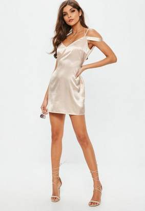 Missguided Nude Strappy Satin Shift Dress