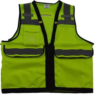 Petra Roc LVM2-HDSUV-S ANSI-ISEA Class 2 Deluxe 8-Pocket High Visibility Heavy Duty Surveyors Safety Vest, Small