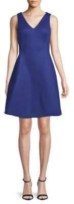 Donna Karan Textured V-Neck Fit-&-Flare Dress