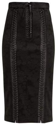 Dolce & Gabbana Jacquard Floral Pencil Skirt - Womens - Black
