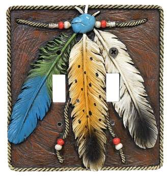 Leon De Collections 3 Feathers Double Switch Plate