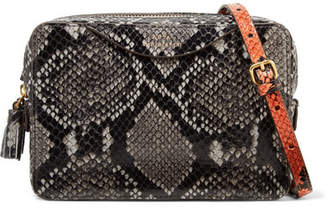 Anya Hindmarch Double Zip Tasseled Python-effect Leather Shoulder Bag - Gray