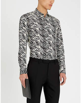 Tiger of Sweden Monochrome tiger-print slim-fit cotton shirt