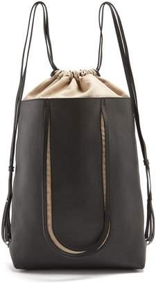 Maison Margiela Contrast-panel drawstring leather backpack