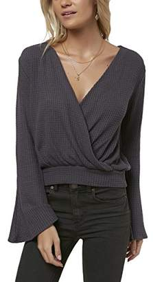 O'Neill Women's Cayenne Knit Wrap Top with Bell Sleeves