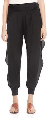 Halston Ruffled Side-Slit Jogger-Style Pants