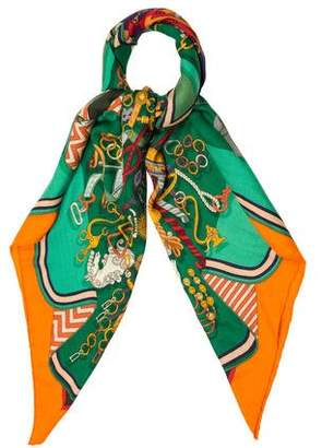 Hermes Bouquets Sellier Cashmere and Silk Shawl