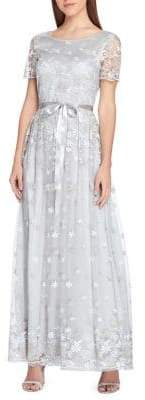 Tahari Arthur S. Levine Embroidered Floral Lace Satin Ribbon Gown
