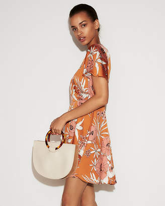 Express Petite Floral Satin Fit And Flare Mini Dress