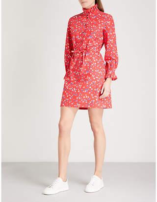 Claudie Pierlot Floral-print belted cotton mini dress