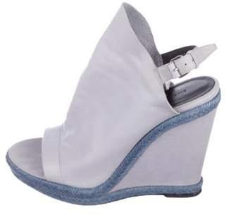 Balenciaga Peep-Toe Leather Wedges grey Peep-Toe Leather Wedges