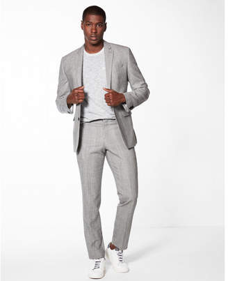Express slim gray plaid wool-blend suit pant