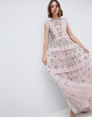 Needle & Thread High Neck Layered Maxi Dress With Embroidery