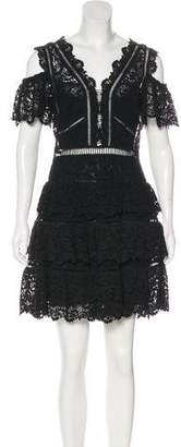Rebecca Taylor Cold-Shoulder Mini Dress
