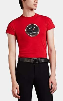 Balenciaga Men's Fuel-Gauge Logo Fitted T-Shirt - Red