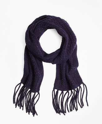 Brooks Brothers Saxxon Wool Cable Knit Scarf
